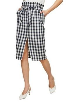 Gingham Paper Bag Pencil Skirt by Miss Selfridge