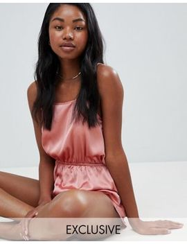 Missguided Satin Open Back Teddy by Missguided