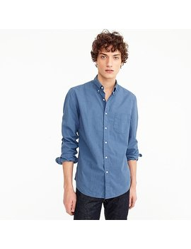 Untucked Stretch Secret Wash Shirt In Blue Heather Poplin by J.Crew