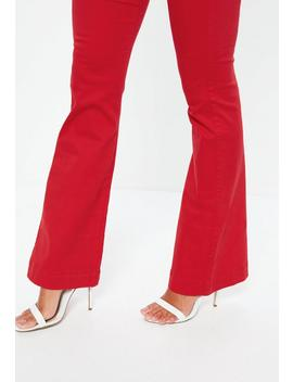 Red High Waisted Flare Jeans by Missguided