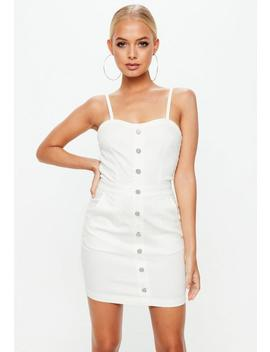 White Denim Button Through Dress by Missguided