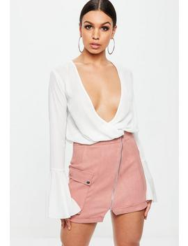 Pink Faux Suede Zip Through Mini Skirt by Missguided