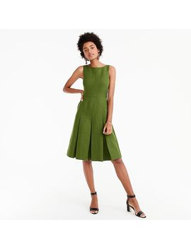 Pleated Linen Sheath Dress by J.Crew