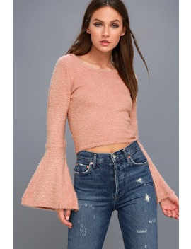 Regine Blush Pink Cropped Bell Sleeve Sweater by Jack By Bb Dakota