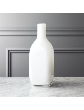 White Glass Bottle Vase by Crate&Barrel