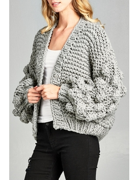 Pompom Sleeve Cardigan by Racine, California