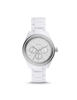 Caleigh Multifunction White Acetate Watch by Fossil