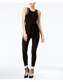 Juniors' Mesh Trim Jumpsuit, Created For Macy's by Material Girl