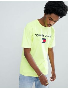 Tommy Jeans 90s Sailing Capsule Flag Logo Crew Neck T Shirt In Neon Yellow by Tommy Jeans