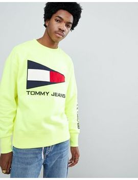 Tommy Jeans 90s Sailing Capsule Flag Logo Crew Neck Sweatshirt In Neon Yellow by Tommy Jeans