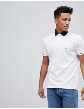 Tommy Hilfiger Contrast Collar Tipped Pique Logo Polo Regular Fit In White by Tommy Hilfiger