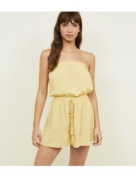 Pale Yellow Bandeau Tie Waist Playsuit by New Look