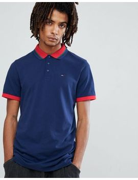Tommy Jeans Icon Tipped Polo Pique Flag Logo In Navy by Hilfiger Denim
