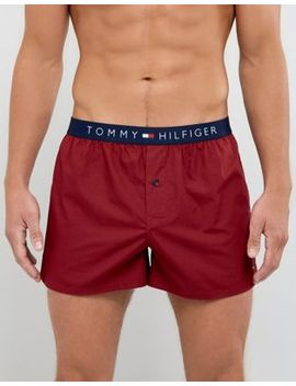 Tommy Hilfiger Woven Boxers In Valentine Red by Tommy Hilfiger