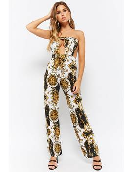 Off The Shoulder Baroque Cutout Jumpsuit by Forever 21