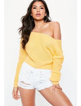 Yellow V Back Off Shoulder Sweater by Missguided