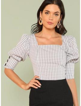 Flounce Sleeve Gingham Blouse by Shein