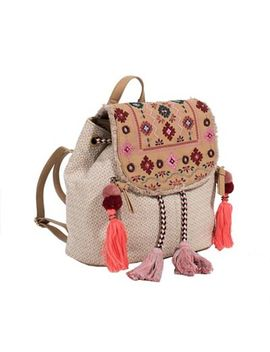 Parfois   Light Cream Folky Rose Backpack by Parfois