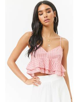 Striped Cropped Lace Up Cami by Forever 21