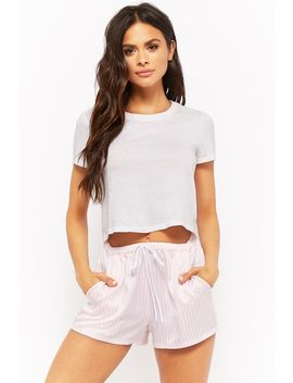 Striped Satin Pajama Shorts by Forever 21