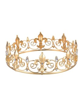 Ff Men's Full Round Fleur De Lis King's Crown For Prom & Party by Ff