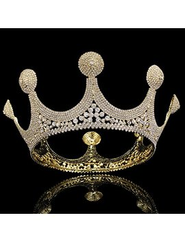 Fumud King Queen Crown Rhinestone Tiara Head Jewelry Quinceanera Crown Bride Wedding Mariage Hair Accessories (Fmhg00300) by Fumud