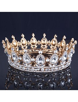 Ulike2 King/Queen Crown Red Ruby Stone Sapphire Tiaras Gold/Silver Plated Hair Jewelry (17#) by Hair Accessories
