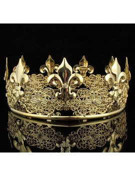 Janefashions Teen's Boys King Unisex Metal Hair Crown Austrian Rhinestone Theater Party C812 G Gold by Janefashions