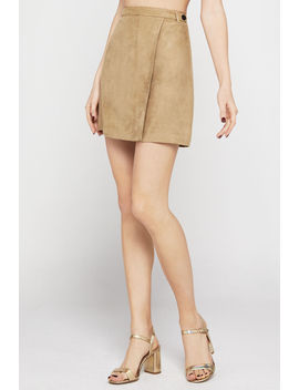 Faux Suede Mini Wrap Skirt by Bcbgeneration