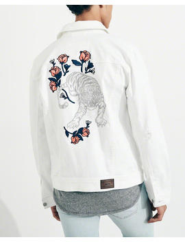 Embroidered Stretch Denim Jacket by Hollister