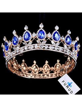 Ulike2 King/Queen Crown Red Ruby Stone Sapphire Tiaras Gold/Silver Plated Hair Jewelry (7#) by Hair Accessories