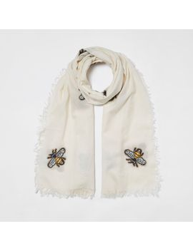 Cream Bee Embroidered Scarf                                  Cream Bee Embroidered Scarf by River Island