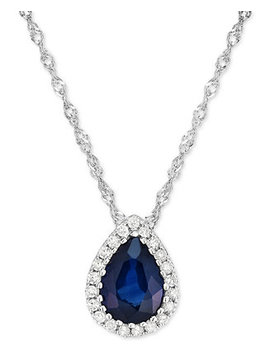 Sapphire (3/4 Ct. T.W.) & Diamond Accent Pendant Necklace In 14k White Gold by Macy's