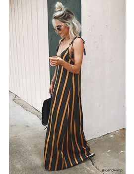 Satin Striped Maxi Dress by Forever 21