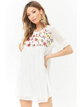 Embroidered Clip Dot Peasant Dress by Forever 21