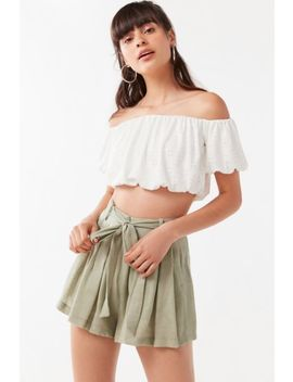 Uo Leaf Tie Belt Short by Urban Outfitters