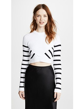 Multi Direction Striped Cropped Sweater by T By Alexander Wang