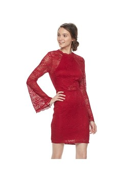 Juniors' Almost Famous Lace Bell Sleeve Mockneck Dress by Kohl's