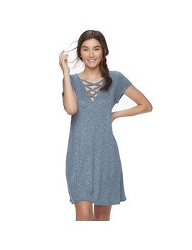 Juniors' Love, Fire Lace Up Ribbed Swing Dress by Kohl's