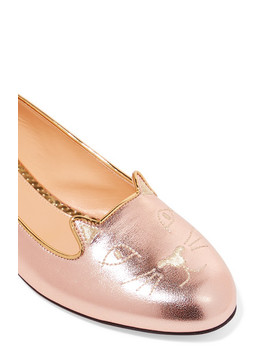 Kitty Embroidered Metallic Leather Slippers by Charlotte Olympia