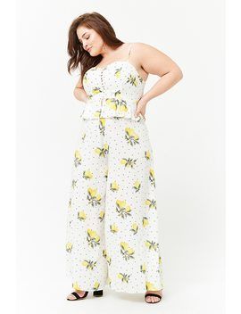 Plus Size Lemon Print Pants by F21 Contemporary