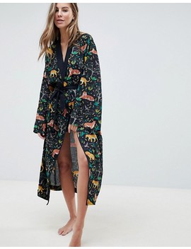 Asos Design Tiger Print Maxi Robe In 100 Percents Modal by Asos Design