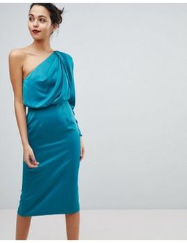 Asos Satin Extreme Shoulder Midi Dress by Asos Collection