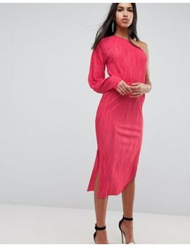 Asos One Shoulder Midi Dress With Balloon Sleeve In Plisse by Asos Collection