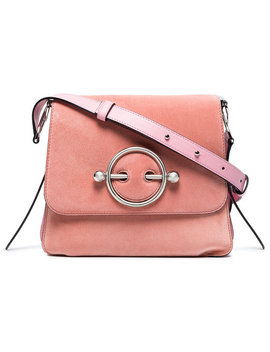 Pink Disc Suede And Leather Cross Body Baghome Women Bags Shoulder Bags by Jw Anderson