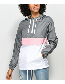 Zine Neve Grey, White & Pink Pullover Windbreaker by Zine