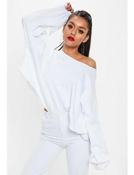 White Raw Hem Neck Cropped Sweatshirt by Missguided