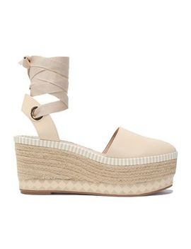 Lace Up Leather Platform Espadrilles by Tory Burch