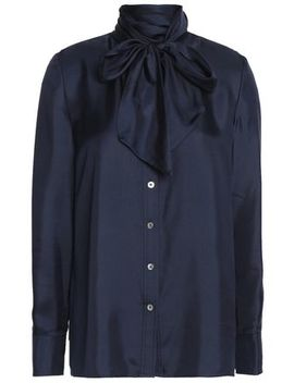 Pussy Bow Silk Satin Blouse by Tory Burch