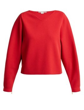V Neck Step Hem Fine Knit Sweater by Stella Mc Cartney